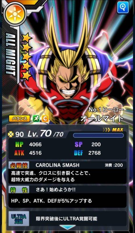 ★5オールマイト【No.1ヒーロー】/★6オールマイト【ONE FOR ALL】